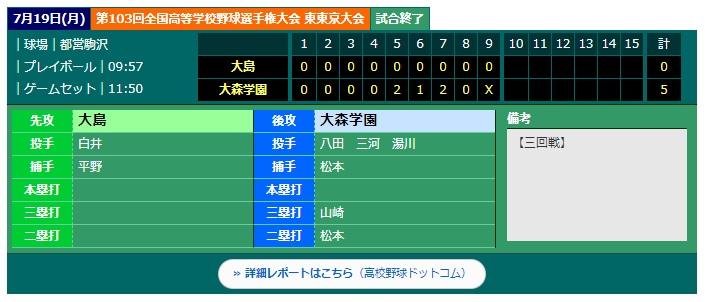 【硬式野球部】第103回全国高等学校野球大会東東京大会 三回戦